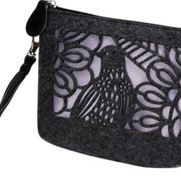 """Charcoal and Lavender - 8"""" x 2.5"""" x 5"""" Bag/Wristlet"""