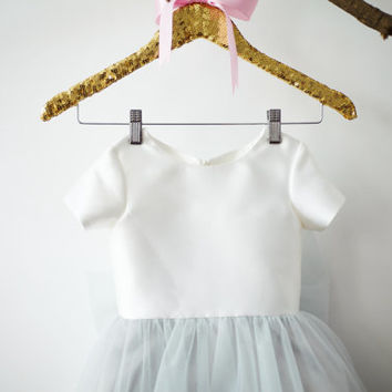 Short Sleeves Ivory Satin Silver Gray Tulle Flower Girl Dress Junior Bridesmaid Wedding Party Dress with big bow M0014