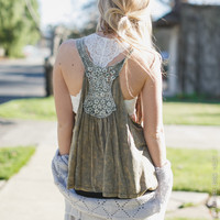 Stonewashed Crochet Back Tank in Olive
