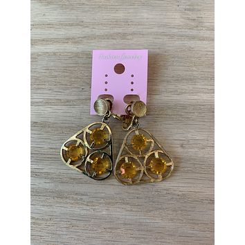 Vintage 1990s Deadstock Gem Dangle Earrings (clip-on)