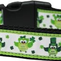 St. Patty's Day Party Owls Nylon Dog Collar Large