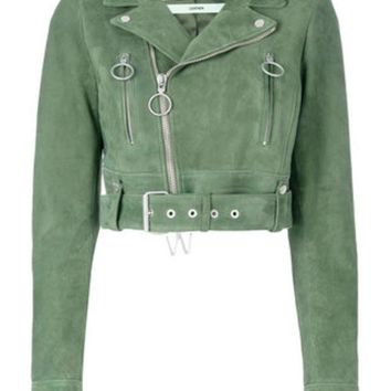 ONETOW Off-White Cropped Biker Jacket - Farfetch
