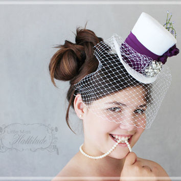 Wedding Mini Hat , Bridal Mini Top Hat , Tea Party Hat , White and Purple Wedding Hat , Bridal Party Hats , Bridal Shower
