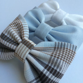 White denim, powder blue, and vintage plaid board short bow lot from Seaside Sparrow.  This Seaside Sparrow set makes a perfect gift for her