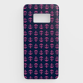 Anchor Toss Cell Phone Case Galaxy S8 - Pink on Navy