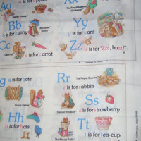 Fabric book panel Beatrix Potter Peter Rabbit alphabet ABC 1yd quilting sewing cotton material kids learning to read Vintage