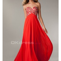 Red Sweetheart Backless Chiffon 2014 Prom Dresses - by OKDress UK