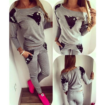 Women Fashion Sweatshirt  Casual Tracksuit Two Pieces Sportsuit Sweatshirt+Pant  Long Sleeve Autumn and Spring Female [8833481740]
