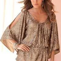 Cold-shoulder sequined top - Boston Proper