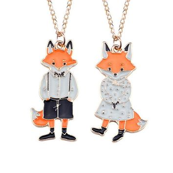 Lovely Cartoon Miss Fox Mr. Fox Couple Necklace Pendants Metal Animal Necklaces For Men Women Lovers Jewelry