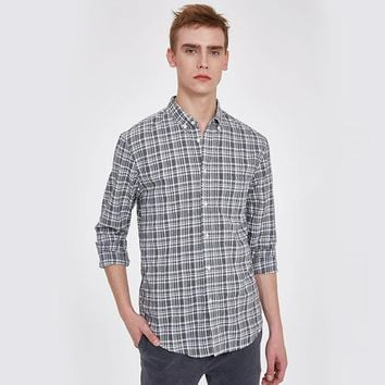 Men Spring Casual Cotton Gray Plaid Shirts chemise Male