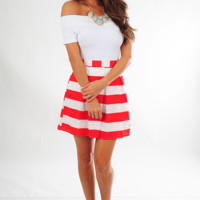 When The Mood Stripes Skirt: Red/White