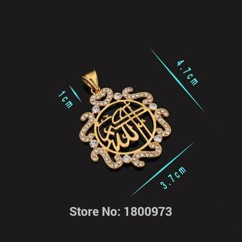 Trendy Islamic Jewelry Gold Color Rhinestone Crystal Vintage Design Allah Necklaces & Pendants For Women