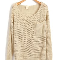 Oversized Beige Knitwear with Chunky Knit in Cut Out Detail