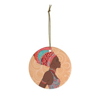 African Girl Orange Ceramic Ornaments