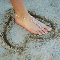 Barefoot Sandals - WEDDING PACKAGE FOR 6 - Foot Jewelry Slave Anklet Toe Ring Thongs Beach Destination Soleless Crochet
