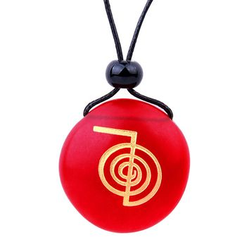 Amulet Frosted Sea Glass Stone Choku Rei Reiki Energy Good Luck Powers Royal Red Adjustable Necklace