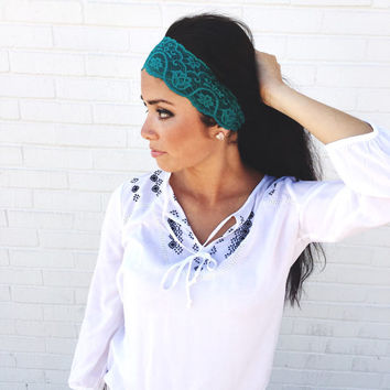 Yoga Headband in Teal Flower Lace