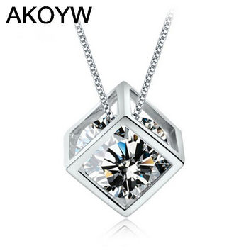 S925 sterling silver love cube crystal pendants