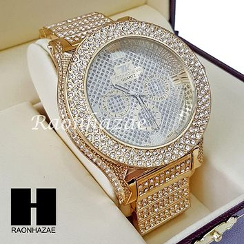 Men's Hip Hop Iced Out 14K Gold PT Bling Lab Diamond Techno King Rapper Watch L2