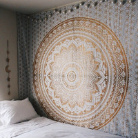 Golden Indian Mandala Tapestry