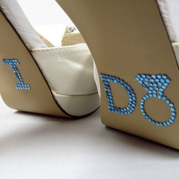 Blue Diamond Ring I Do Wedding Shoe Stickers  by RegalRhinestones