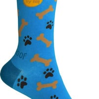 I Luv My Dog Crew Socks in Bright Turquoise