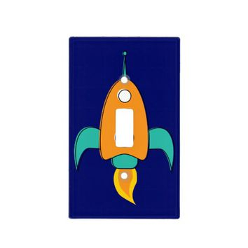 Nifty fifties - rocket ship single switch light switch cover