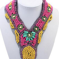 Multicolor Beaded Statement Collar Necklace