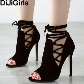 DiJiGirls zapatos mujer Sexy Ribbon Open Toe Ankle Boots Spring Summer Flock Cross Tied Stiletto Pump High Heel Party Rome Shoes