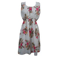 Mogul Womens Summer Dress Floral Print White Polyester Hippie Chic Boho Dresses - Walmart.com