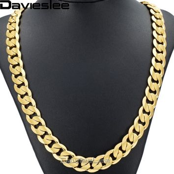 Davieslee Hip Hop Mens Necklace Curb Cuban Chain Gold Filled Jewelry Party Daily Wear 12mm DLGN270