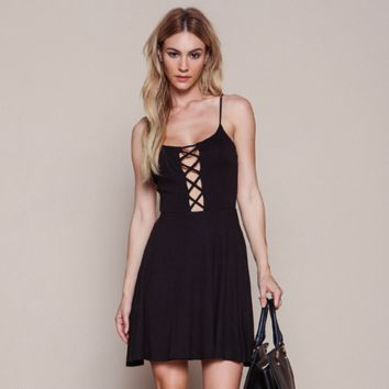 Fashion Backless Hollow Crisscross Bandage High Waist Sleeveless Strap Mini Dress