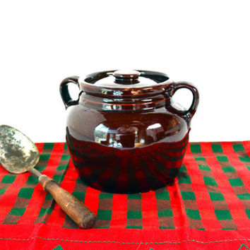Vintage Bean Pot, Bean Crock Pot, Boston Bean Crock, Stoneware Crock, Dark Brown Pot, Pottery Cookware, Crock Pot with Lid, Jar with Lid