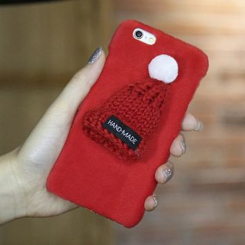 Red Knitted Hat Fuzzy Phone Case