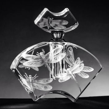 Crystal Perfume Bottle, hand engraved with Dragonflies
