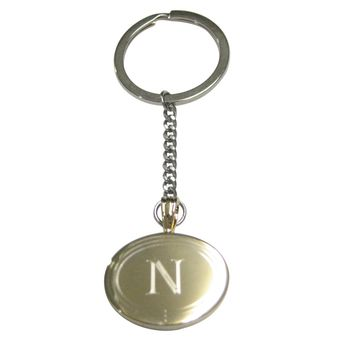 Gold Toned Etched Oval Letter N Monogram Pendant Keychain