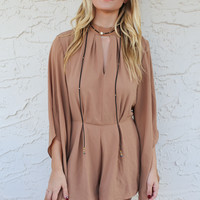 Moonstruck Taupe Long Sleeve Romper