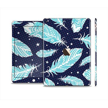 The Blue Aztec Feathers and Stars Skin Set for the Apple iPad Air 2