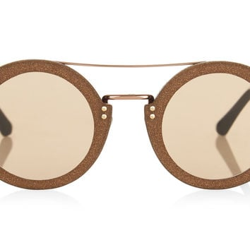 Jimmy Choo - Montie Grey Acetate Round Framed with Gold Crystal Fabric Sunglasses