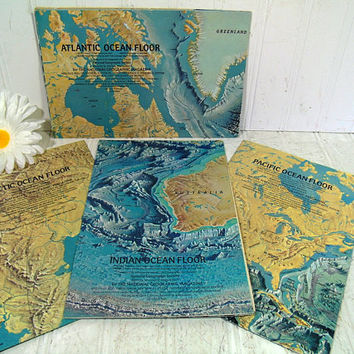 Collection of Ocean Floor Maps Posters Set of 4 National Geographic Magazine Vintage Geographic Art Atlantic Pacific Indian & Arctic Oceans