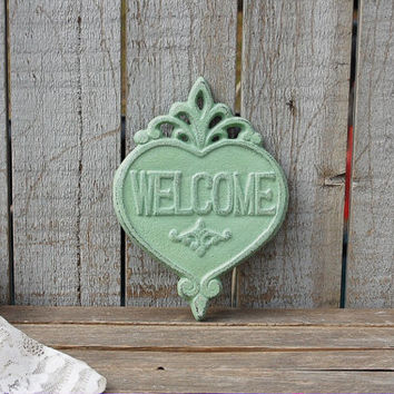 Welcome Sign, Shabby Chic, Sage Green, Green, Hand Painted, Cast Iron, Metal, Distressed, Cast Iron Sign, Door Decor, Wreath Decor