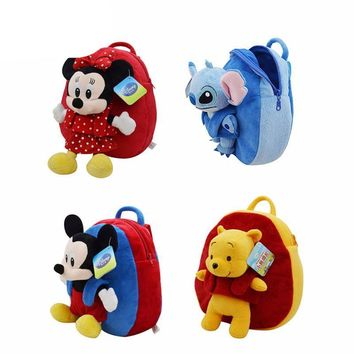 Disney Backpack School Bag Plush Toys Winnie The Pooh Mickey Mouse Minnie Stuffed Doll