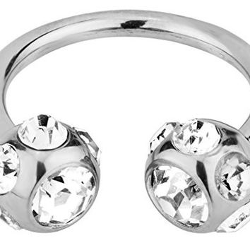 """14g 1/2"""" Surgical Steel Horseshoe Piercing Ring with 7-Gem Clear Crystal 6 mm Balls"""