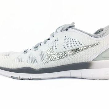 ONETOW CLEARANCE - Nike Free 5.0 TR Fit 5 - Crystallized Swarovski Swoosh - White/Silver