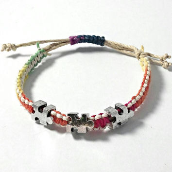 Autism bracelet, autism awareness jewelry, hemp multi colored bracelet, braided bracelet, puzzle piece jewelry, gifts under 20.