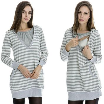 Plus Size Pregnancy Women Maternity Clothes Hooded Breastfeeding Striped T-shirt Nursing Clothes for Pregnant Women