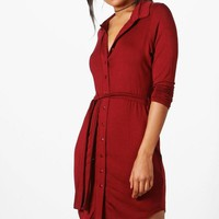 Catalina Button Through Collar Shirt Dress | Boohoo