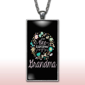 Grandma Pendant Charm Necklace One Awesome Grandmother Mothers Day Gift Custom Charm Necklace, Silver Plated Jewelry