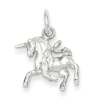 925 Sterling Silver Prancing Unicorn Girls Pendant